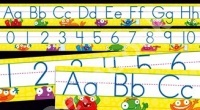 Monsters Alphabet and Numbers 0–30 (Standard Manuscript) charts